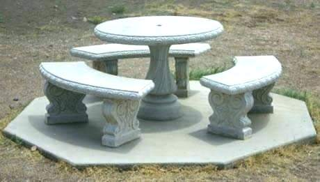 Stone Table Top Patio Furniture Outdoor Seating Idea Caged Bases Filled With Rocks Marble Or Stone Table Top Rustic Wood Benches Welcoming Woodsy Dining