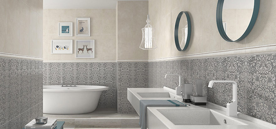 dark grey floor tiles, large wall mirror, two white sinks, inbuilt bath with Bathrooms Without Tiles – 50 Alternative Design Ideas