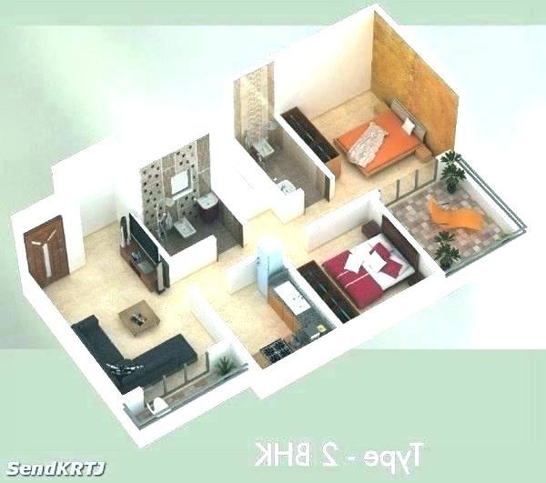 house plan 3d image of 2 bedroom house plans house plan 3d model india