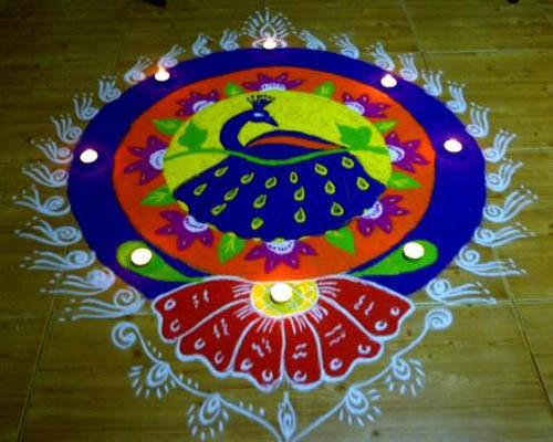 Diwali Rangolis; Diwali Rangolis of Peacock and Lotus