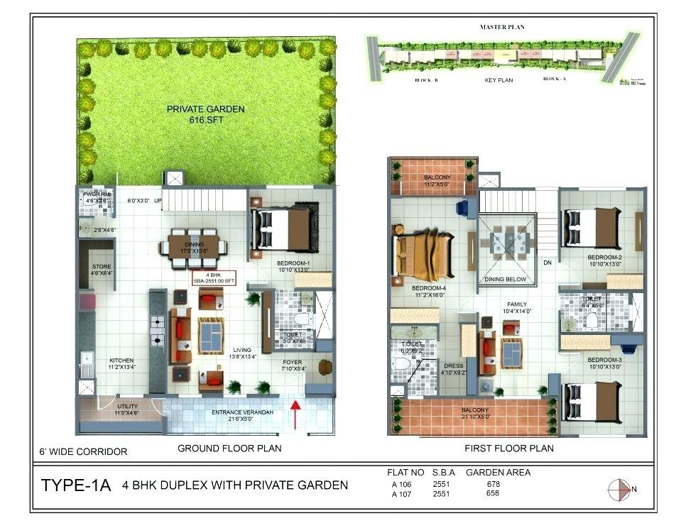 Ground Floor Plan of a 4 bedroom duplex house in 300 Sq