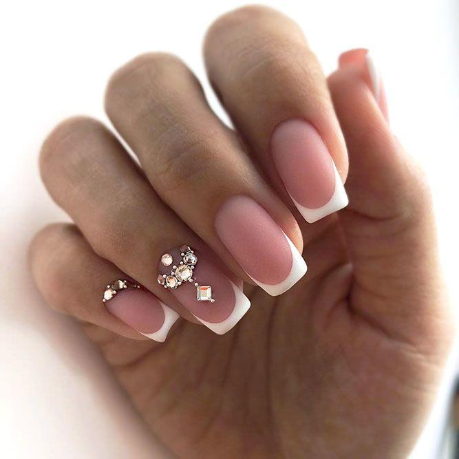 127+249 gel varnish nail design French manicure Recommended unhas de gel manicure