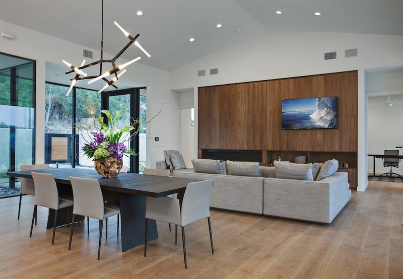 Light tone vaulted ceiling perfectly matches hardwood floor