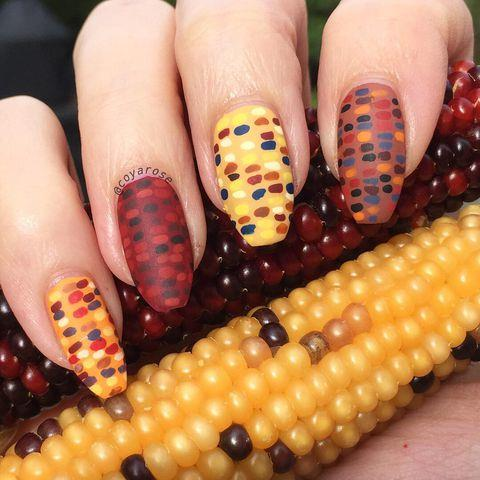 Thanksgiving nail art with shellac check out www