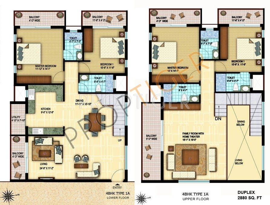 4BHK (Duplex)(9) Super Area: 2790 sq ft, Apartment