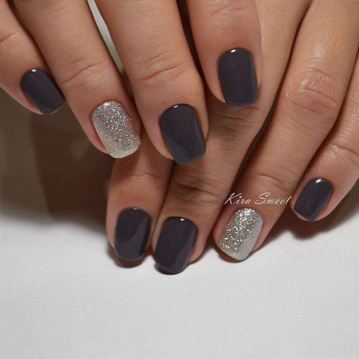 Clockwork in the transparent gel nail design