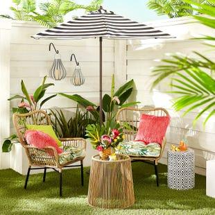 White Caribbean Wicker Patio Furniture Sectional