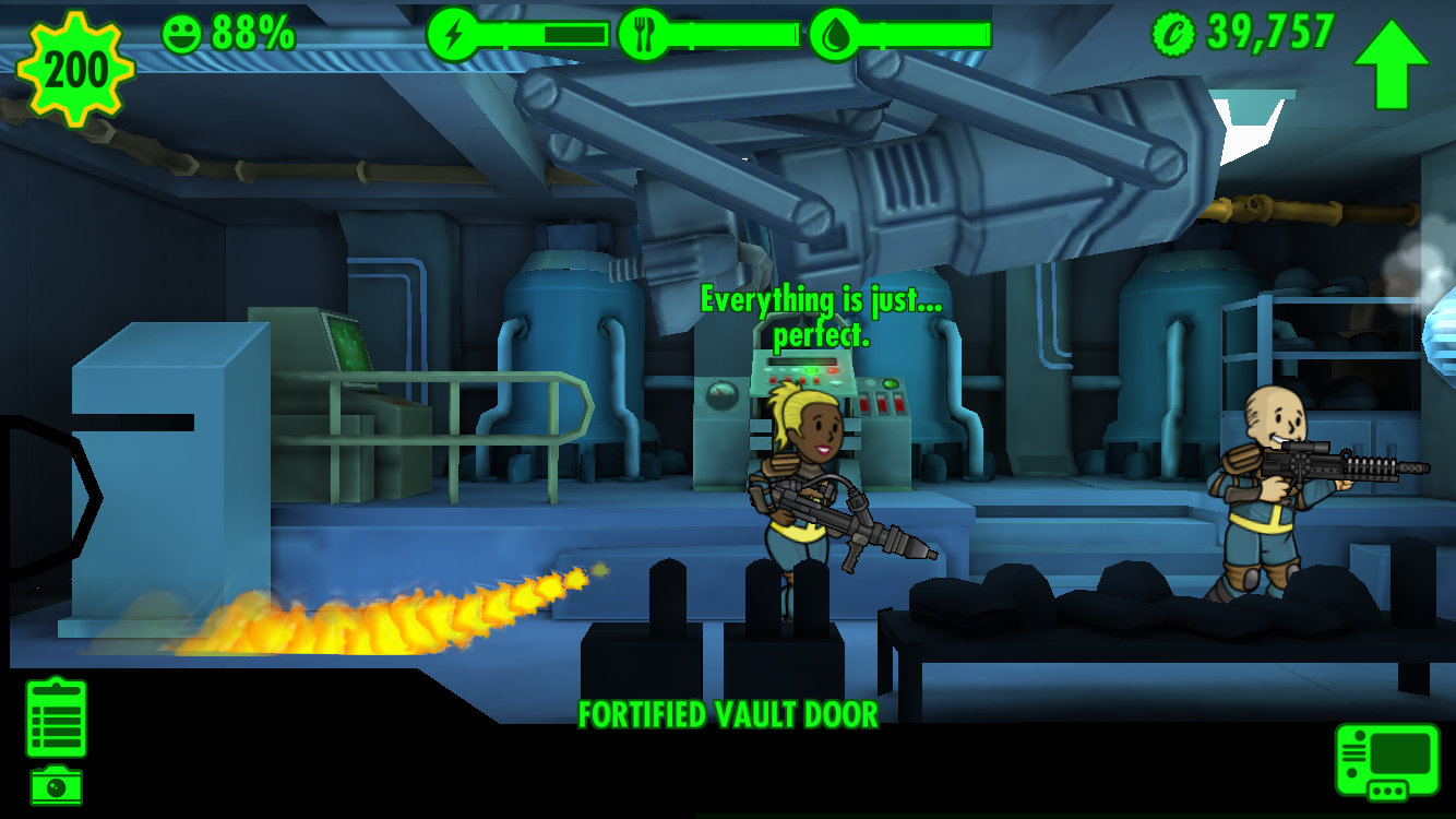 every empty room has at least one adjacent room with Dwellers that can rush in and defend it