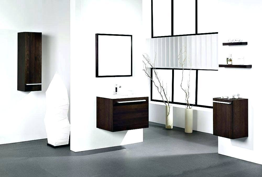 Sleekly lined floating vanities stylishly enhance the perception of space in this breezily modern bathroom design