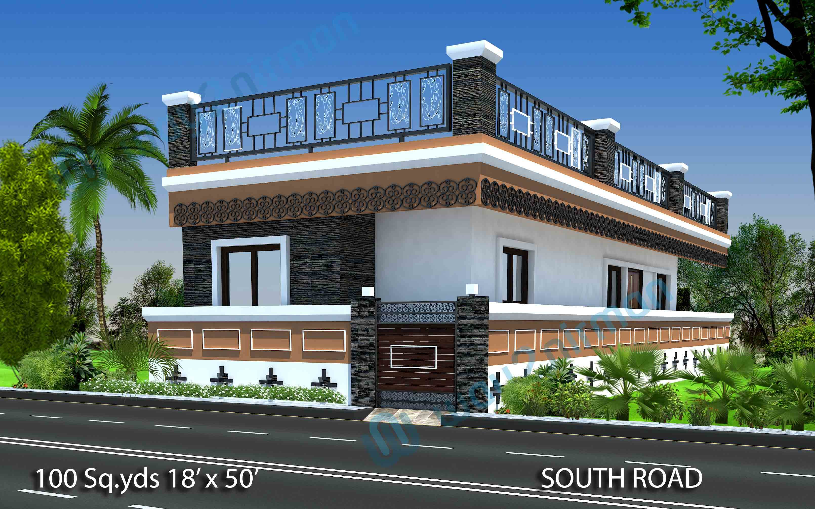 feet 2 BHK Modern House Design