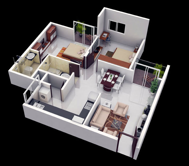 The floor area of a 2BHK varies from 700 sq ft to 1000 sq ft