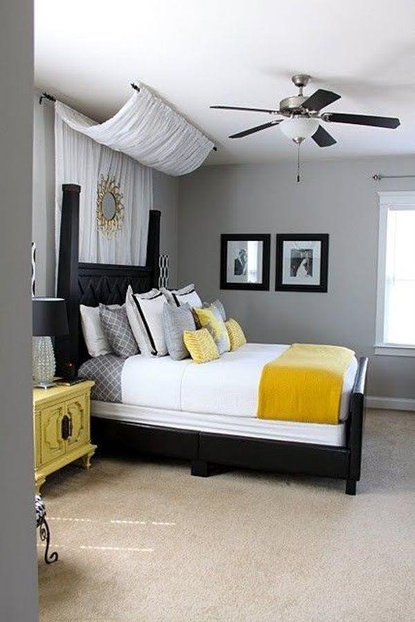 Bedroom Elegant Interior Bedroomating With Black Wooden Bedframe Black Or White Furniture Home Decoration