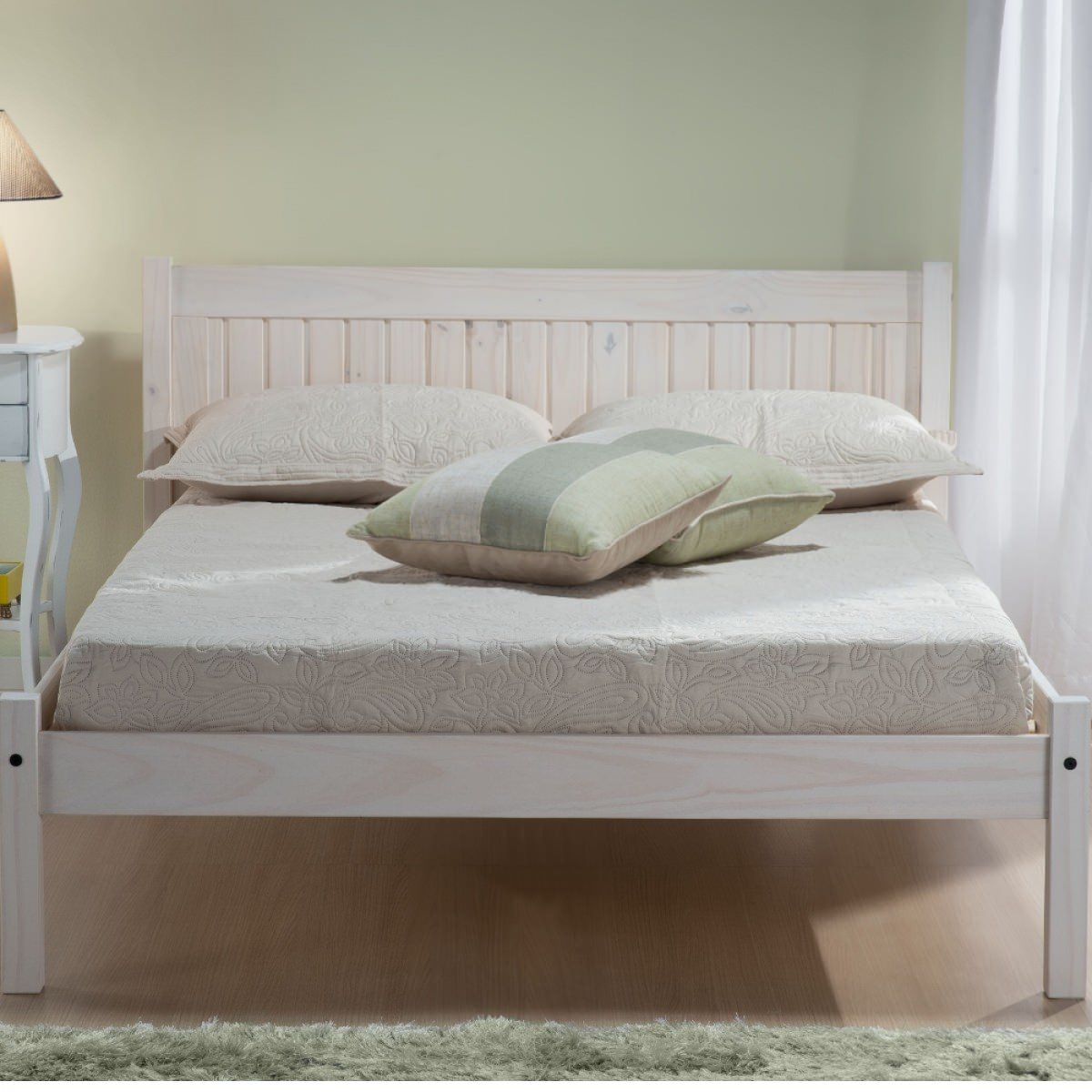 Happy Beds Rio Wooden Bed White Washed Finish Traditional Frame Bedroom 4' Small Double 120 x 190 cm: Amazon