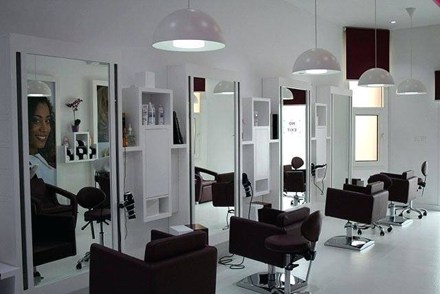 Panorama of a modern bright beauty salon