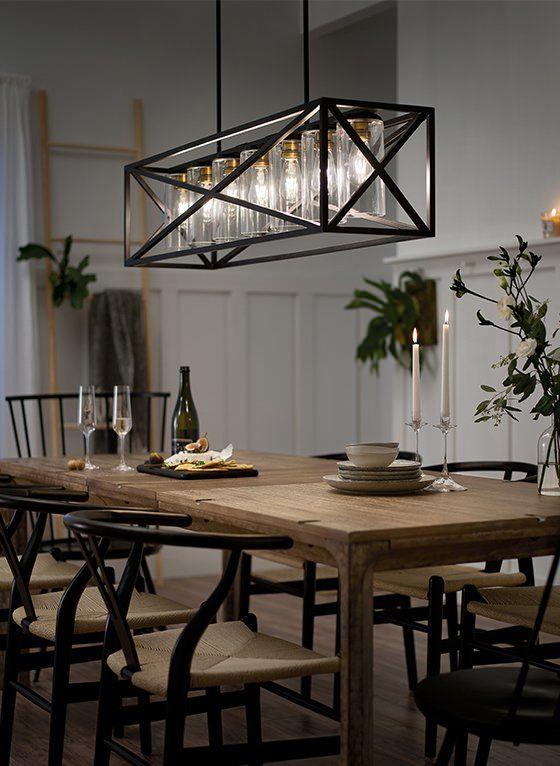 Rustic Rectangular Dining Room Light Fixtures Pendant Lights Over Table
