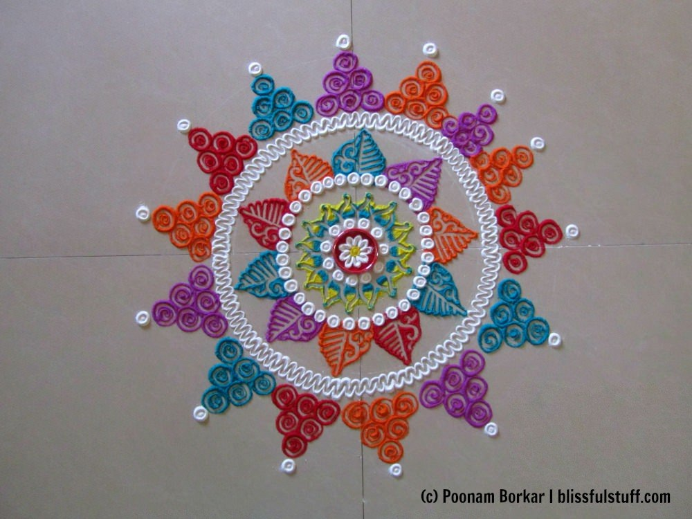 This is an ideal rangoli design for weddings or engagement ceremonies