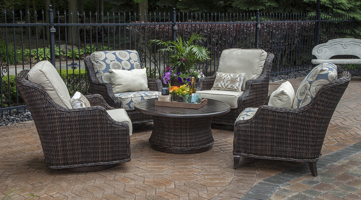 Patio Furniture No Assembly Required Outdoor South Bay 6 Piece Wicker Patio Furniture Conversation Set Canvas Cocoa Brown With Cushions And Coffee Assembly