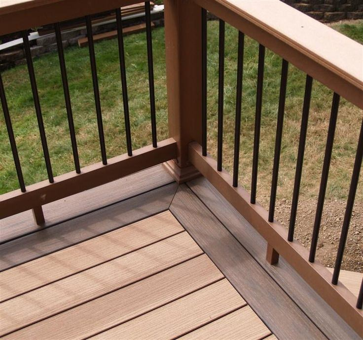 Wonderful Trex Decking in Trex Saddle Accents with a dark brown border