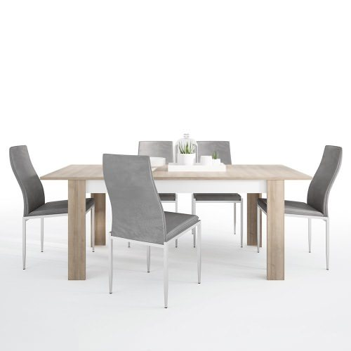 Dining set package Lyon Large extending dining table 160/200 cm + 4 Milan High Back Chair Grey