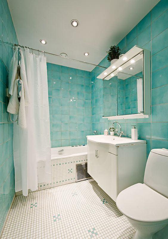 White, black and turquoise bathroom makeover on { lilluna