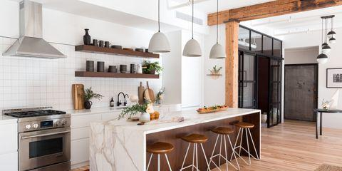 Combining raw, natural elements like exposed brick and open beam ceilings,  Urban Loft incorporates lighting that tends toward a soft industrial look