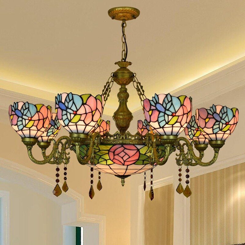 UPC 600210414606 product image for Dining Room Light Fixture Tiffany  Style Stained Glass Ceiling Chandelier Mission