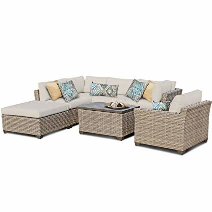 com : TK Classics Monterey 9 Piece Outdoor Wicker Patio Furniture Set, Navy : Garden & Outdoor